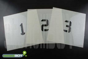 Zahlenschablone Font KA mit Sprühnebelschutz