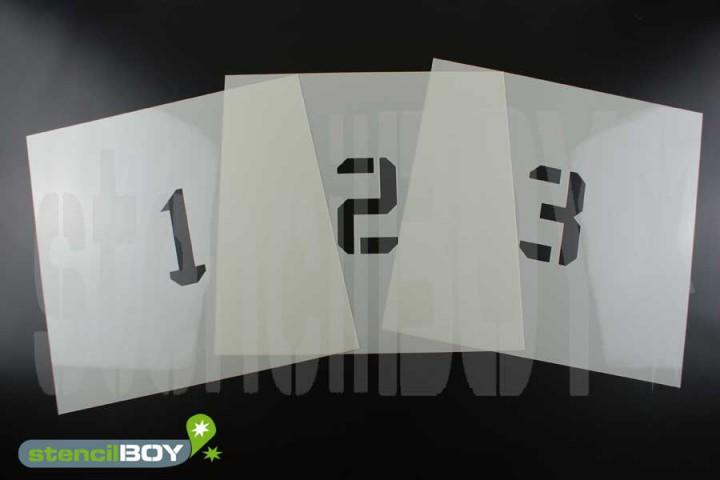 Zahlenschablonen 0-9 Font KA mit Sprühnebelschutz