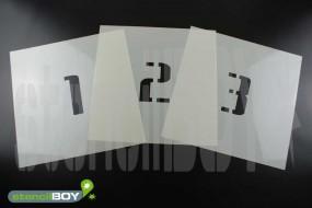 Zahlenschablonen 0-9 Font BL mit Sprühnebelschutz
