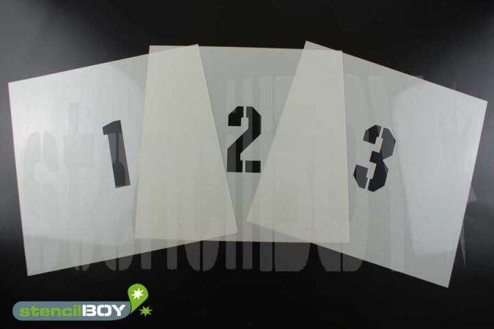 150mm Zahlenschablonen 0-9 Font KI mit Sprühnebelschutz