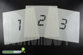 Zahlenschablone Font LD mit Sprühnebelschutz