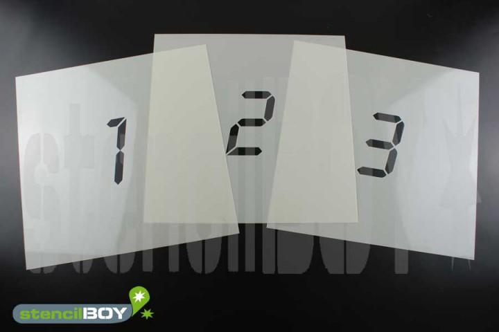 Zahlenschablonen 0-9 Font LD mit Sprühnebelschutz