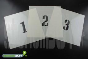 Zahlenschablonen 0-9 Font CA mit Sprühnebelschutz