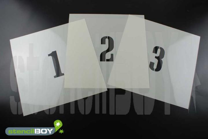 Zahlenschablone Font CA mit Sprühnebelschutz