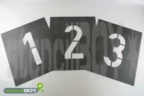 200/300mm Kautschuk Zahlenschablonen Set 0-9 nach DIN 1451 (mit Extra-Stegen)