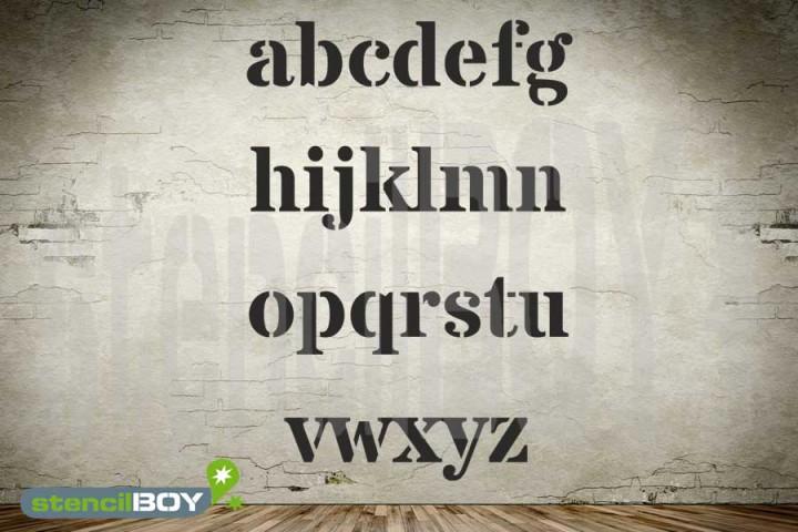 Kleinbuchstabenschablone Font DO auf einem Bogen geliefert