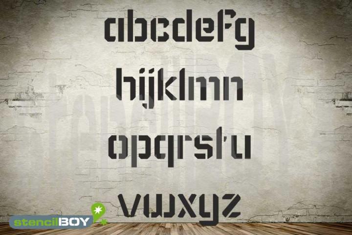 75mm Kleinbuchstabenschablonen Font KA mit Sprühnebelschutz