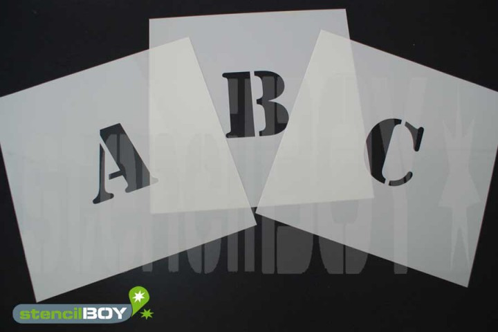 150mm Buchstabenschablonen Font ST mit Sprühnebelschutz