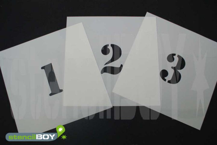 150mm Zahlenschablonen 0-9 Font ST mit Sprühnebelschutz
