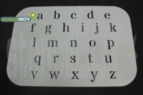 Kleinbuchstabenschablone Font DOL auf einem Bogen geliefert