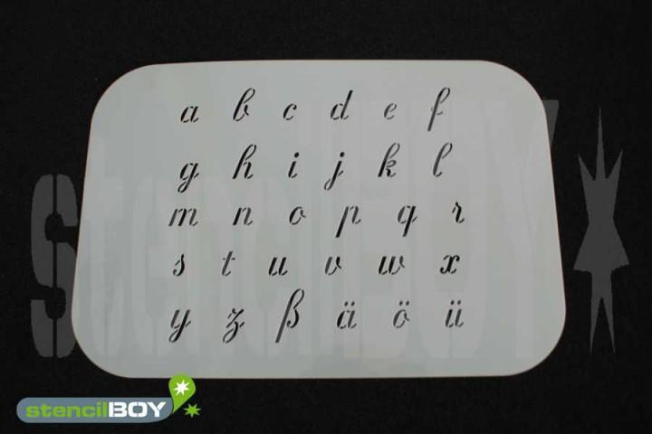 Kleinbuchstabenschablone Font RA