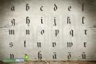 Kleinbuchstabenschablonen Set a-z inkl. äöüß Schrift GER mit Sprühnebelschutz