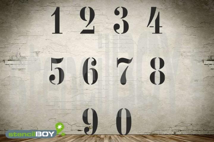 Zahlenschablonen Set 0-9 Schrift GER mit Sprühnebelschutz