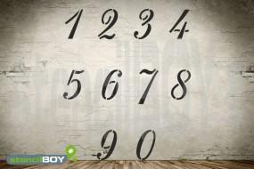 Zahlenschablonen Set 0-9 Schrift RA mit Sprühnebelschutz