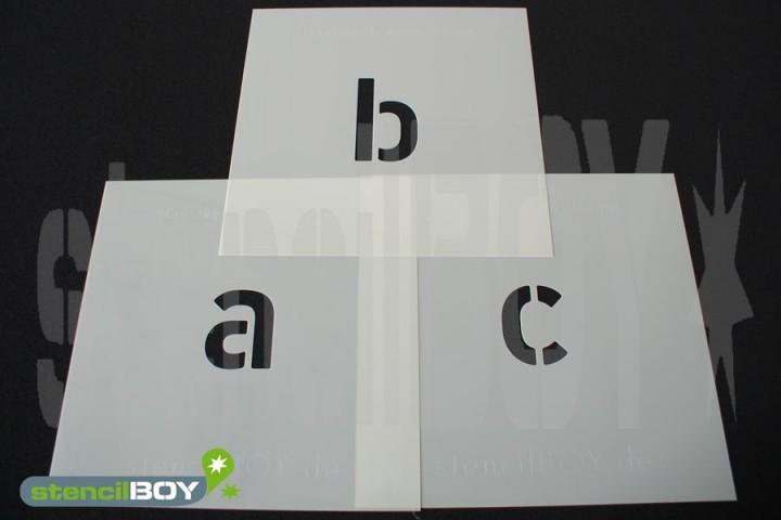 20-600mm Kleinbuchstabenschablonen Set a-z inkl. äöü in unserer Hausschrift mit Sprühnebelschutz
