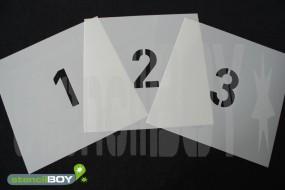 Zahlenschablonen 0-9 in unserer Hausschrift mit Sprühnebelschutz
