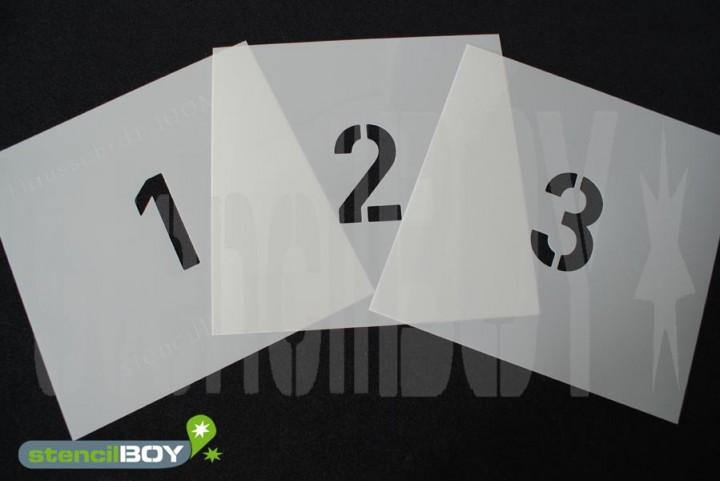 250-600mm einzelne Zahlenschablonen in unserer Hausschrift HS mit Sprühnebelschutz