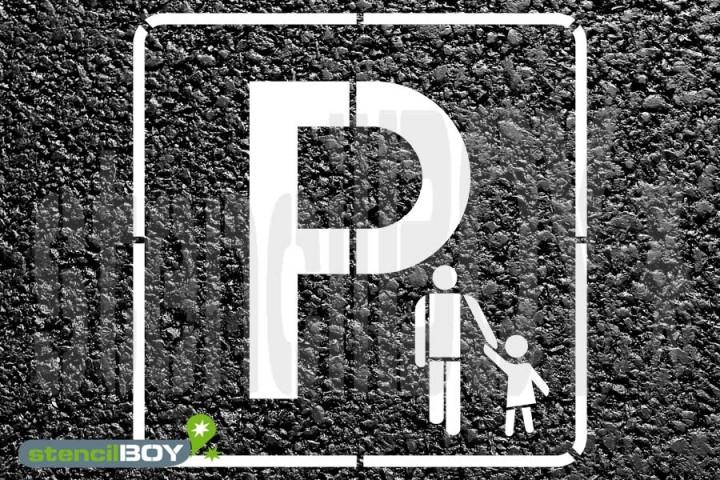 """""""Eltern-Kind Parkplatz"""" (geschlechtsneutral) Bodenmarkierungs-Schablone"""