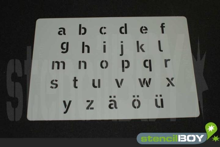 Kleinbuchstabenschablone Hausschrift HS inkl. Umlaute