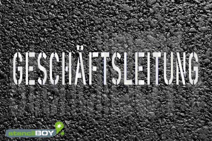 """""""GESCHÄFTSLEITUNG"""" Bodenmarkierungs - Schablone"""