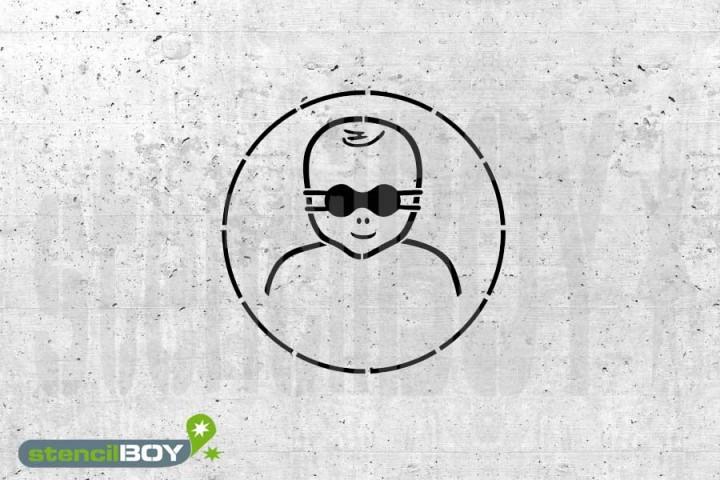 """Schablone """"Kleinkinder durch weitgehend lichtundurchlässige Augenabschirmung schützen"""""""