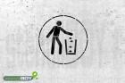 """Schablone """"Abfallbehälter benutzen"""""""