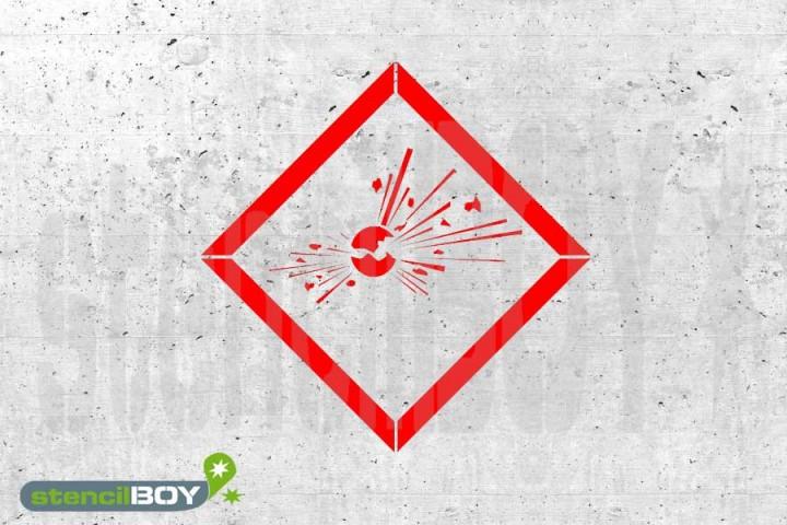 "GHS 01 ""explodierende Bombe"" Kunststoffschablone"