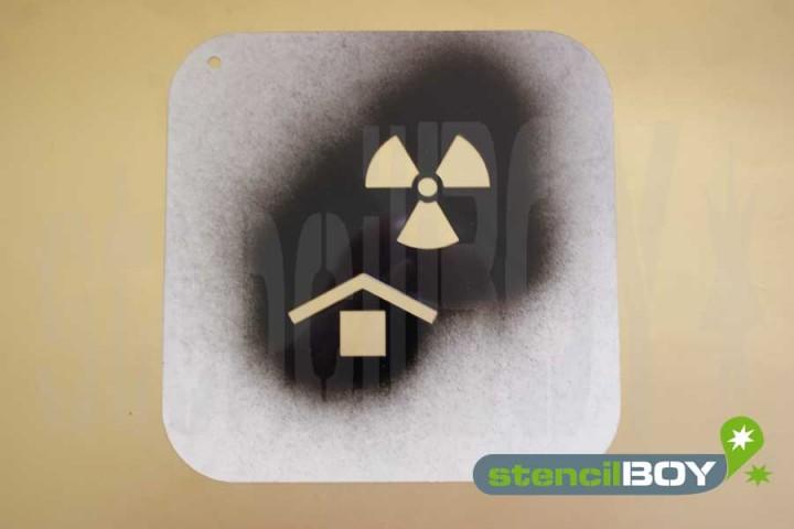 """""""Vor radioaktiven Strahlen schützen"""" Kunststoffschablone"""